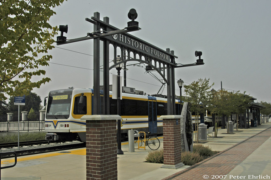 (192k, 864x574)<br><b>Country:</b> United States<br><b>City:</b> Sacramento, CA<br><b>System:</b> SACRT Light Rail<br><b>Location:</b> Folsom <br><b>Car:</b> Sacramento CAF LRV  234 <br><b>Photo by:</b> Peter Ehrlich<br><b>Date:</b> 9/5/2007<br><b>Notes:</b> Historic Folsom Station.<br><b>Viewed (this week/total):</b> 0 / 607