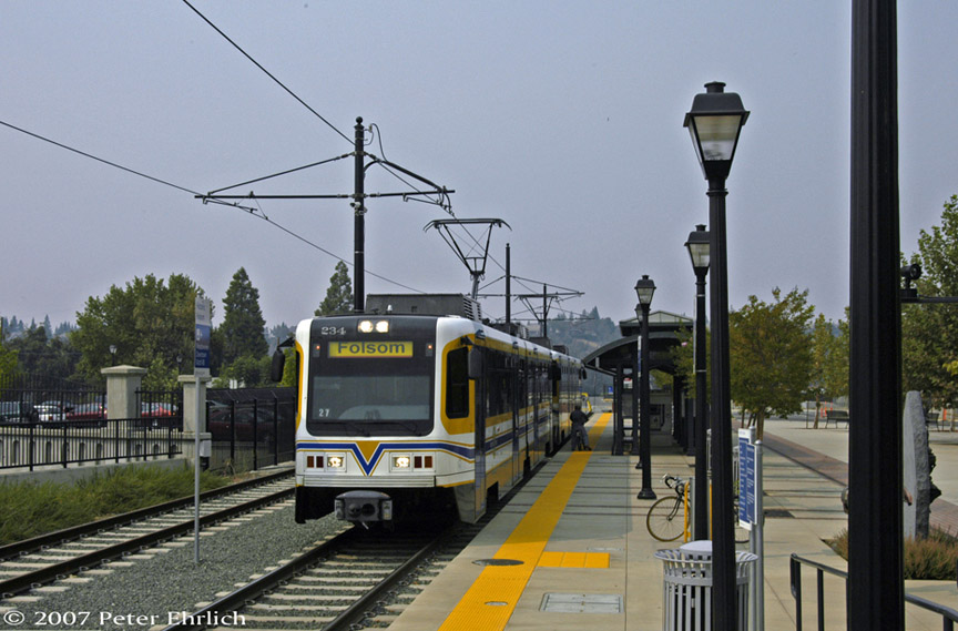 (175k, 864x569)<br><b>Country:</b> United States<br><b>City:</b> Sacramento, CA<br><b>System:</b> SACRT Light Rail<br><b>Location:</b> Folsom <br><b>Car:</b> Sacramento CAF LRV  234 <br><b>Photo by:</b> Peter Ehrlich<br><b>Date:</b> 9/5/2007<br><b>Notes:</b> Historic Folsom Station.<br><b>Viewed (this week/total):</b> 1 / 552