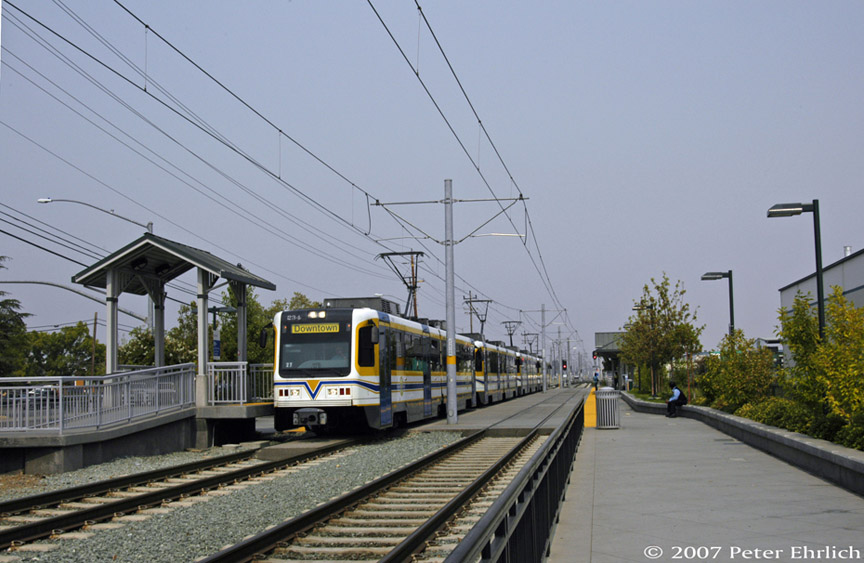 (170k, 864x563)<br><b>Country:</b> United States<br><b>City:</b> Sacramento, CA<br><b>System:</b> SACRT Light Rail<br><b>Location:</b> Sunrise <br><b>Car:</b> Sacramento CAF LRV  234 <br><b>Photo by:</b> Peter Ehrlich<br><b>Date:</b> 9/5/2007<br><b>Notes:</b> Four-car train now ready to continue inbound.<br><b>Viewed (this week/total):</b> 1 / 601