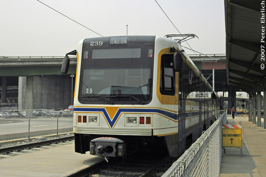 (168k, 864x574)<br><b>Country:</b> United States<br><b>City:</b> Sacramento, CA<br><b>System:</b> SACRT Light Rail<br><b>Location:</b> Sacramento Valley Station (Amtrak) <br><b>Car:</b> Sacramento CAF LRV  239 <br><b>Photo by:</b> Peter Ehrlich<br><b>Date:</b> 9/5/2007<br><b>Notes:</b> Sacramento Valley Station layover track.<br><b>Viewed (this week/total):</b> 0 / 633
