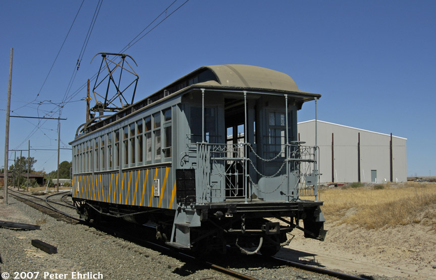 (169k, 864x556)<br><b>Country:</b> United States<br><b>City:</b> Rio Vista Junction, CA<br><b>System:</b> Western Railway Museum <br><b>Car:</b>  561 <br><b>Photo by:</b> Peter Ehrlich<br><b>Date:</b> 9/2/2007<br><b>Notes:</b> Shipyard Railway 561 (ex Manhattan El 844).  Loop split north of Diablo Vista.<br><b>Viewed (this week/total):</b> 7 / 1826