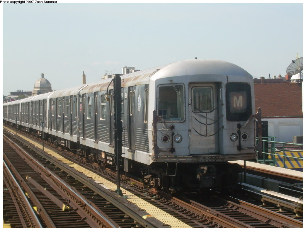 (188k, 1044x788)<br><b>Country:</b> United States<br><b>City:</b> New York<br><b>System:</b> New York City Transit<br><b>Line:</b> BMT West End Line<br><b>Location:</b> 25th Avenue <br><b>Route:</b> M<br><b>Car:</b> R-42 (St. Louis, 1969-1970)  4805 <br><b>Photo by:</b> Zach Summer<br><b>Date:</b> 9/4/2007<br><b>Viewed (this week/total):</b> 0 / 798