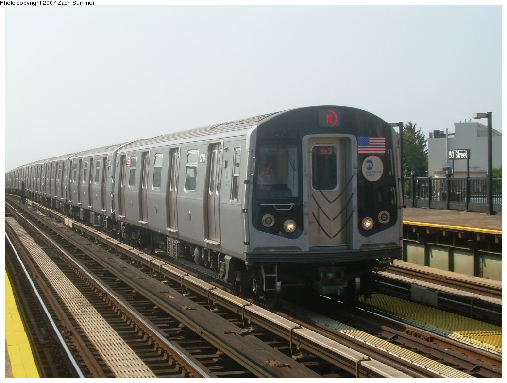 (186k, 1044x788)<br><b>Country:</b> United States<br><b>City:</b> New York<br><b>System:</b> New York City Transit<br><b>Line:</b> BMT West End Line<br><b>Location:</b> 50th Street <br><b>Route:</b> N<br><b>Car:</b> R-160B (Kawasaki, 2005-2008)  8778 <br><b>Photo by:</b> Zach Summer<br><b>Date:</b> 9/7/2007<br><b>Viewed (this week/total):</b> 0 / 1707