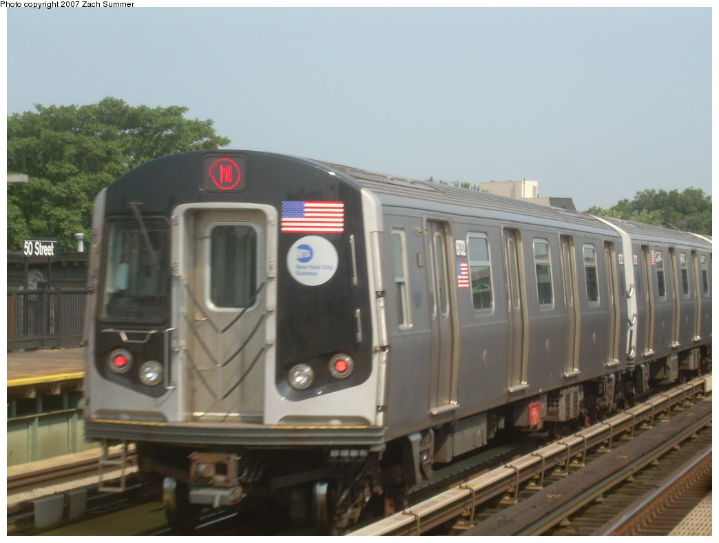 (158k, 1044x788)<br><b>Country:</b> United States<br><b>City:</b> New York<br><b>System:</b> New York City Transit<br><b>Line:</b> BMT West End Line<br><b>Location:</b> 50th Street <br><b>Route:</b> N<br><b>Car:</b> R-160B (Kawasaki, 2005-2008)  8732 <br><b>Photo by:</b> Zach Summer<br><b>Date:</b> 9/7/2007<br><b>Viewed (this week/total):</b> 3 / 1124