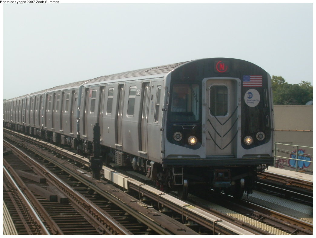 (165k, 1044x788)<br><b>Country:</b> United States<br><b>City:</b> New York<br><b>System:</b> New York City Transit<br><b>Line:</b> BMT West End Line<br><b>Location:</b> 50th Street <br><b>Route:</b> N<br><b>Car:</b> R-160B (Kawasaki, 2005-2008)  8743 <br><b>Photo by:</b> Zach Summer<br><b>Date:</b> 9/7/2007<br><b>Viewed (this week/total):</b> 3 / 1219
