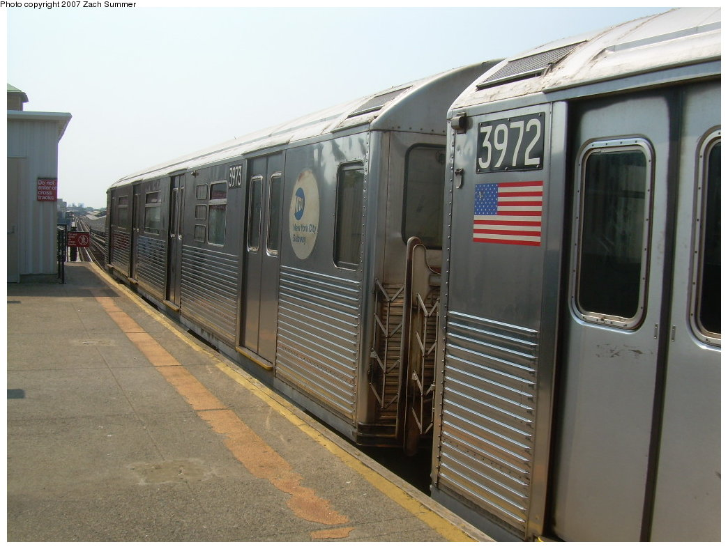 (196k, 1044x788)<br><b>Country:</b> United States<br><b>City:</b> New York<br><b>System:</b> New York City Transit<br><b>Line:</b> BMT West End Line<br><b>Location:</b> Fort Hamilton Parkway <br><b>Route:</b> School car<br><b>Car:</b> R-38 (St. Louis, 1966-1967)  3973 <br><b>Photo by:</b> Zach Summer<br><b>Date:</b> 9/7/2007<br><b>Viewed (this week/total):</b> 4 / 1704