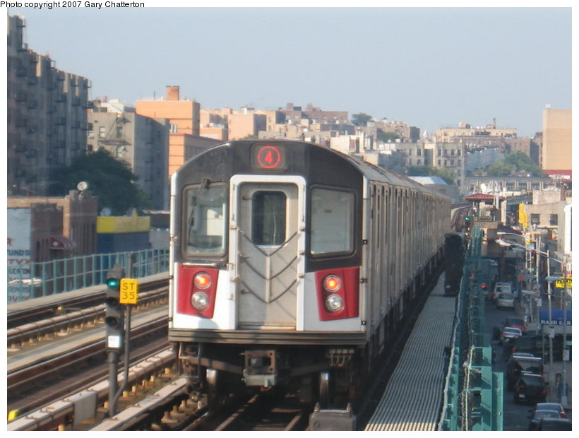 (102k, 820x620)<br><b>Country:</b> United States<br><b>City:</b> New York<br><b>System:</b> New York City Transit<br><b>Line:</b> IRT Woodlawn Line<br><b>Location:</b> Mt. Eden Avenue <br><b>Route:</b> 4<br><b>Car:</b> R-142A (Supplemental Order, Kawasaki, 2003-2004)  7740 <br><b>Photo by:</b> Gary Chatterton<br><b>Date:</b> 9/3/2007<br><b>Viewed (this week/total):</b> 2 / 3021
