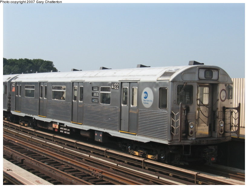 (94k, 820x620)<br><b>Country:</b> United States<br><b>City:</b> New York<br><b>System:</b> New York City Transit<br><b>Line:</b> IND Fulton Street Line<br><b>Location:</b> 104th Street/Oxford Ave. <br><b>Route:</b> A<br><b>Car:</b> R-38 (St. Louis, 1966-1967)  4122 <br><b>Photo by:</b> Gary Chatterton<br><b>Date:</b> 9/8/2007<br><b>Viewed (this week/total):</b> 1 / 1044