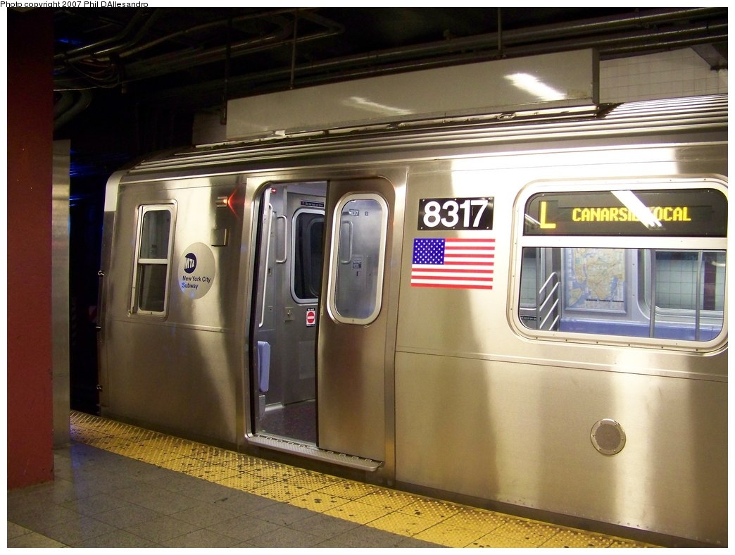 (165k, 1044x788)<br><b>Country:</b> United States<br><b>City:</b> New York<br><b>System:</b> New York City Transit<br><b>Line:</b> BMT Canarsie Line<br><b>Location:</b> 8th Avenue <br><b>Route:</b> L<br><b>Car:</b> R-160A-1 (Alstom, 2005-2008, 4 car sets)  8317 <br><b>Photo by:</b> Philip D'Allesandro<br><b>Date:</b> 9/13/2007<br><b>Viewed (this week/total):</b> 0 / 2898