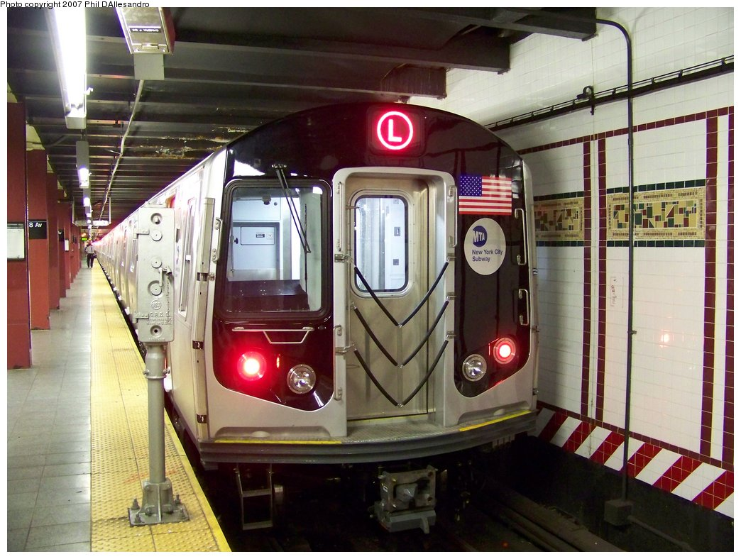 (193k, 1044x788)<br><b>Country:</b> United States<br><b>City:</b> New York<br><b>System:</b> New York City Transit<br><b>Line:</b> BMT Canarsie Line<br><b>Location:</b> 8th Avenue <br><b>Route:</b> L<br><b>Car:</b> R-160A-1 (Alstom, 2005-2008, 4 car sets)  8360 <br><b>Photo by:</b> Philip D'Allesandro<br><b>Date:</b> 9/13/2007<br><b>Viewed (this week/total):</b> 2 / 2533