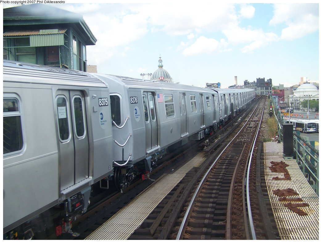 (182k, 1044x788)<br><b>Country:</b> United States<br><b>City:</b> New York<br><b>System:</b> New York City Transit<br><b>Line:</b> BMT Nassau Street/Jamaica Line<br><b>Location:</b> Marcy Avenue <br><b>Route:</b> Testing<br><b>Car:</b> R-160A-1 (Alstom, 2005-2008, 4 car sets)  8376 <br><b>Photo by:</b> Philip D'Allesandro<br><b>Date:</b> 9/13/2007<br><b>Viewed (this week/total):</b> 1 / 2522