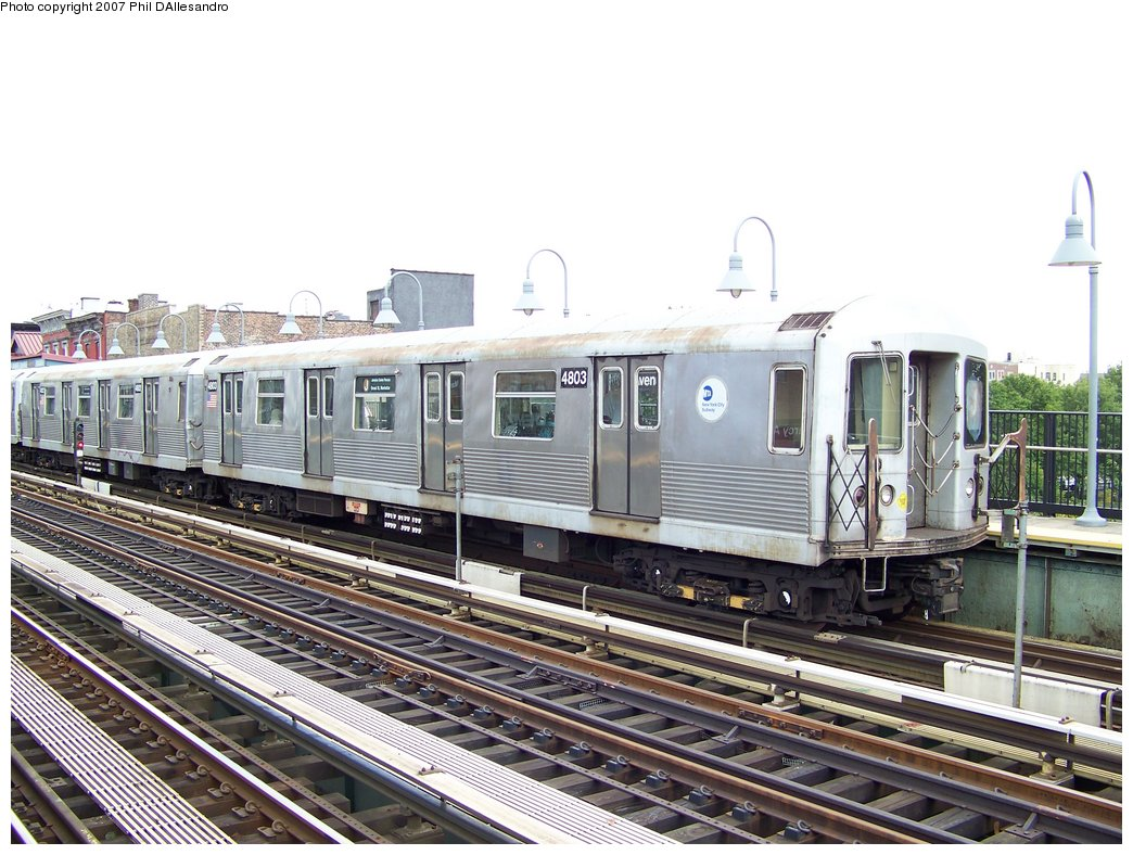 (201k, 1044x788)<br><b>Country:</b> United States<br><b>City:</b> New York<br><b>System:</b> New York City Transit<br><b>Line:</b> BMT Nassau Street/Jamaica Line<br><b>Location:</b> Marcy Avenue <br><b>Route:</b> J<br><b>Car:</b> R-42 (St. Louis, 1969-1970)  4803 <br><b>Photo by:</b> Philip D'Allesandro<br><b>Date:</b> 9/13/2007<br><b>Viewed (this week/total):</b> 0 / 995