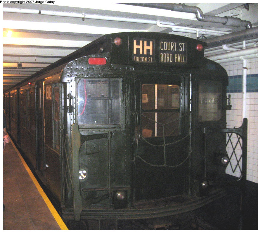 (200k, 882x788)<br><b>Country:</b> United States<br><b>City:</b> New York<br><b>System:</b> New York City Transit<br><b>Location:</b> New York Transit Museum<br><b>Route:</b> Fan Trip<br><b>Car:</b> R-9 (Pressed Steel, 1940)  1802 <br><b>Photo by:</b> Jorge Catayi<br><b>Date:</b> 9/8/2007<br><b>Viewed (this week/total):</b> 0 / 2932