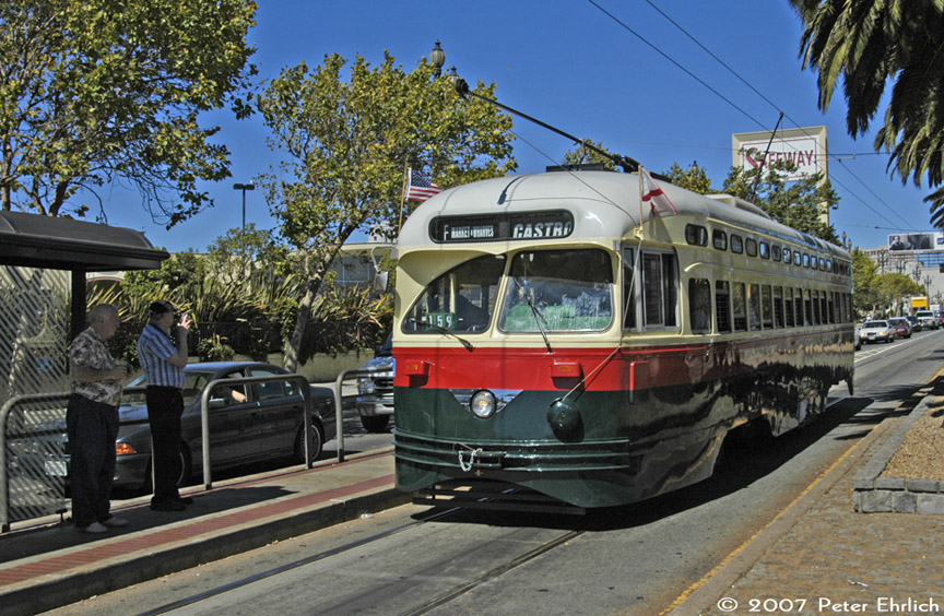 (255k, 864x564)<br><b>Country:</b> United States<br><b>City:</b> San Francisco/Bay Area, CA<br><b>System:</b> SF MUNI<br><b>Location:</b> Market/Church/14th <br><b>Car:</b> SF MUNI PCC (Ex-NJTransit, Ex-Twin City) (St. Louis Car Co., 1946-1947)  1077 <br><b>Photo by:</b> Peter Ehrlich<br><b>Date:</b> 9/1/2007<br><b>Notes:</b> Arriving Market/Church outbound.<br><b>Viewed (this week/total):</b> 4 / 988