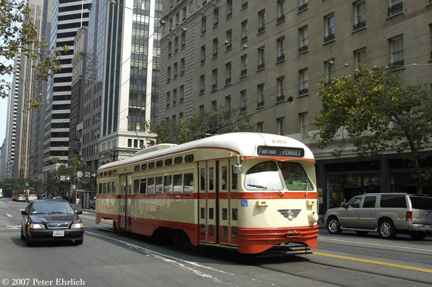 (213k, 864x574)<br><b>Country:</b> United States<br><b>City:</b> San Francisco/Bay Area, CA<br><b>System:</b> SF MUNI<br><b>Location:</b> Market/3rd/Geary/Kearny <br><b>Car:</b> SF MUNI PCC (Ex-NJTransit, Ex-Twin City) (St. Louis Car Co., 1946-1947)  1079 <br><b>Photo by:</b> Peter Ehrlich<br><b>Date:</b> 9/6/2007<br><b>Notes:</b> Approaching Market/3rd Street outbound.<br><b>Viewed (this week/total):</b> 5 / 1053
