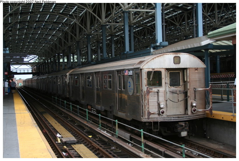 (138k, 820x553)<br><b>Country:</b> United States<br><b>City:</b> New York<br><b>System:</b> New York City Transit<br><b>Location:</b> Coney Island/Stillwell Avenue<br><b>Route:</b> F<br><b>Car:</b> R-32 (Budd, 1964)  3688 <br><b>Photo by:</b> Neil Feldman<br><b>Date:</b> 9/14/2007<br><b>Viewed (this week/total):</b> 0 / 1759