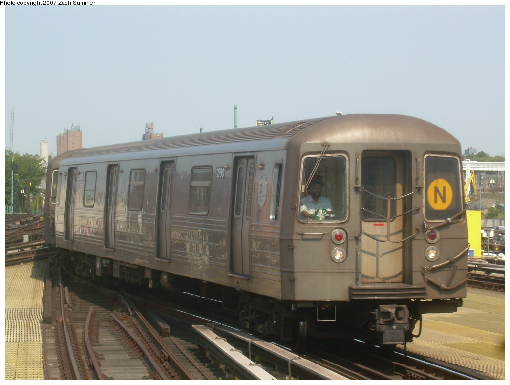 (163k, 1044x788)<br><b>Country:</b> United States<br><b>City:</b> New York<br><b>System:</b> New York City Transit<br><b>Location:</b> Coney Island/Stillwell Avenue<br><b>Route:</b> N<br><b>Car:</b> R-68 (Westinghouse-Amrail, 1986-1988)  2790 <br><b>Photo by:</b> Zach Summer<br><b>Date:</b> 9/8/2007<br><b>Viewed (this week/total):</b> 4 / 1372