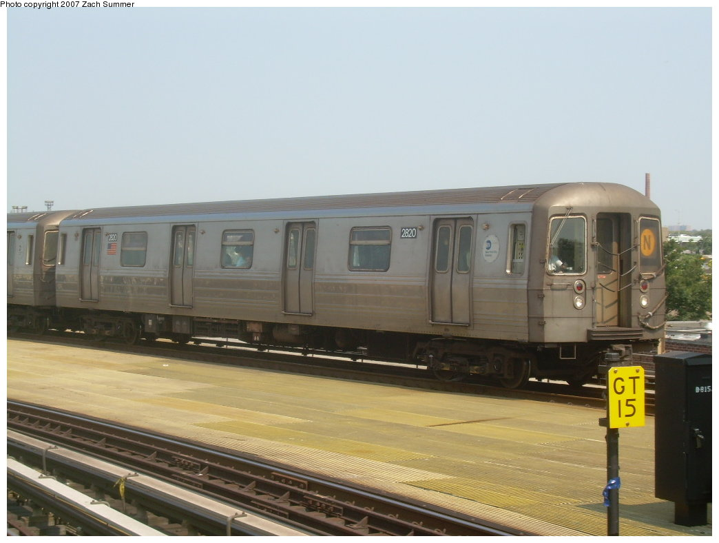 (162k, 1044x788)<br><b>Country:</b> United States<br><b>City:</b> New York<br><b>System:</b> New York City Transit<br><b>Location:</b> Coney Island/Stillwell Avenue<br><b>Route:</b> N<br><b>Car:</b> R-68 (Westinghouse-Amrail, 1986-1988)  2820 <br><b>Photo by:</b> Zach Summer<br><b>Date:</b> 9/8/2007<br><b>Viewed (this week/total):</b> 0 / 951
