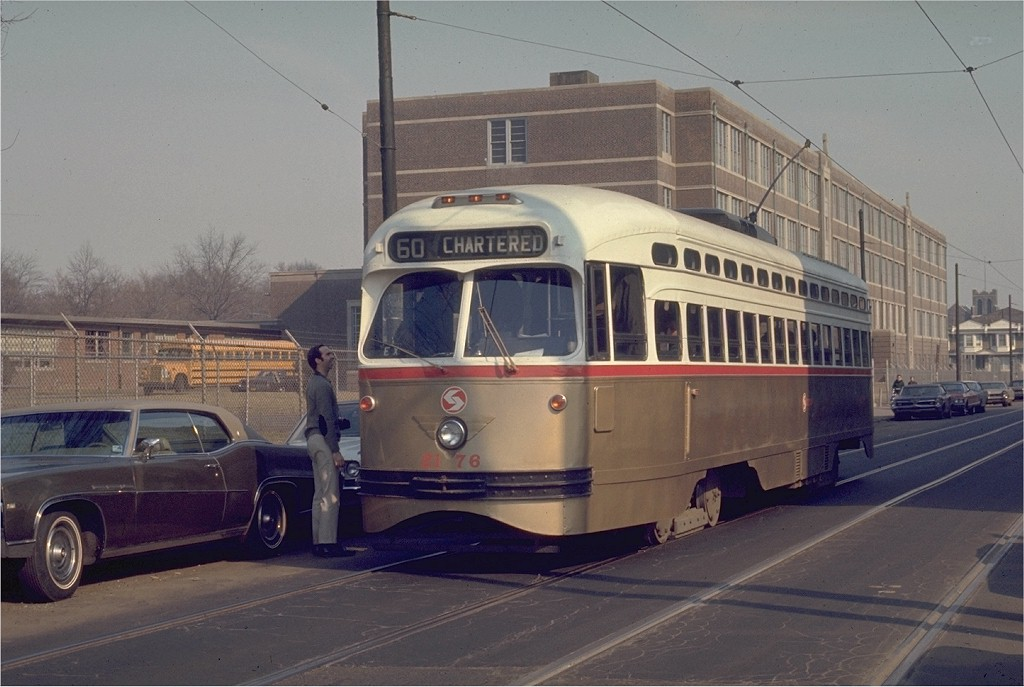(168k, 1024x687)<br><b>Country:</b> United States<br><b>City:</b> Philadelphia, PA<br><b>System:</b> SEPTA (or Predecessor)<br><b>Location:</b> 12th & Luzerne<br><b>Route:</b> Fan Trip<br><b>Car:</b> PTC/SEPTA Postwar All-electric PCC (St.Louis, 1948)  2176 <br><b>Photo by:</b> Joe Testagrose<br><b>Date:</b> 3/1/1970<br><b>Viewed (this week/total):</b> 0 / 944