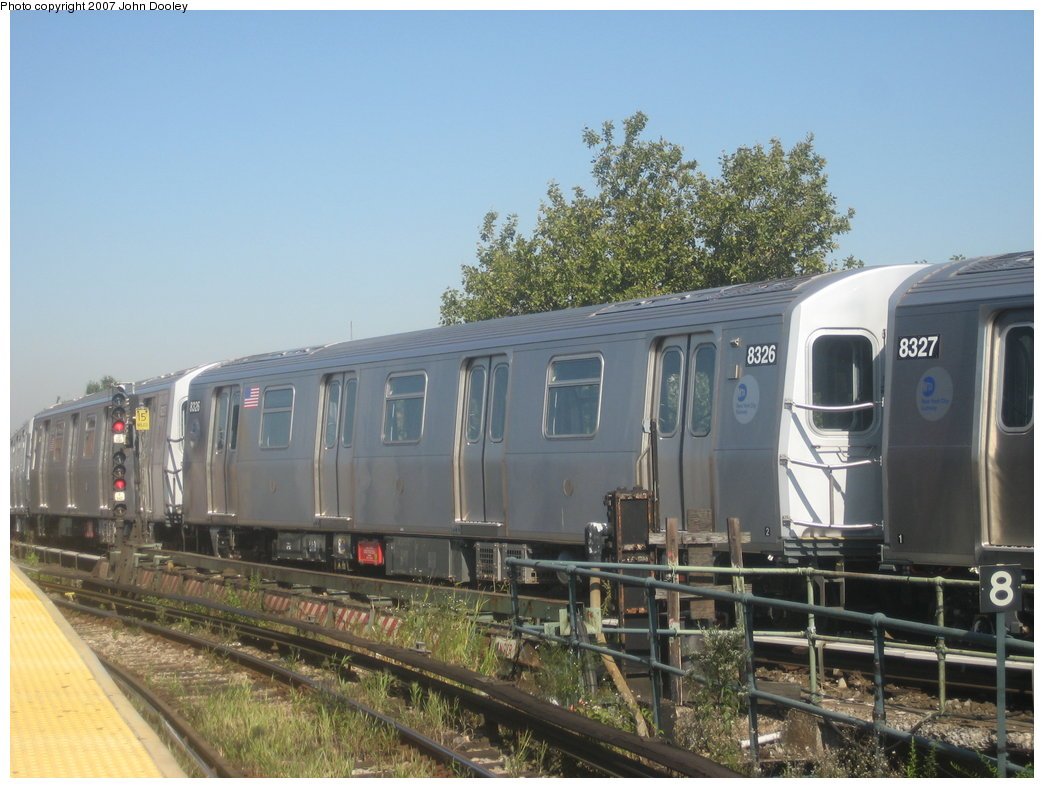 (169k, 1044x788)<br><b>Country:</b> United States<br><b>City:</b> New York<br><b>System:</b> New York City Transit<br><b>Line:</b> BMT Nassau Street/Jamaica Line<br><b>Location:</b> Broadway/East New York (Broadway Junction) <br><b>Route:</b> Z<br><b>Car:</b> R-160A-1 (Alstom, 2005-2008, 4 car sets)  8326 <br><b>Photo by:</b> John Dooley<br><b>Date:</b> 9/20/2007<br><b>Viewed (this week/total):</b> 2 / 1614