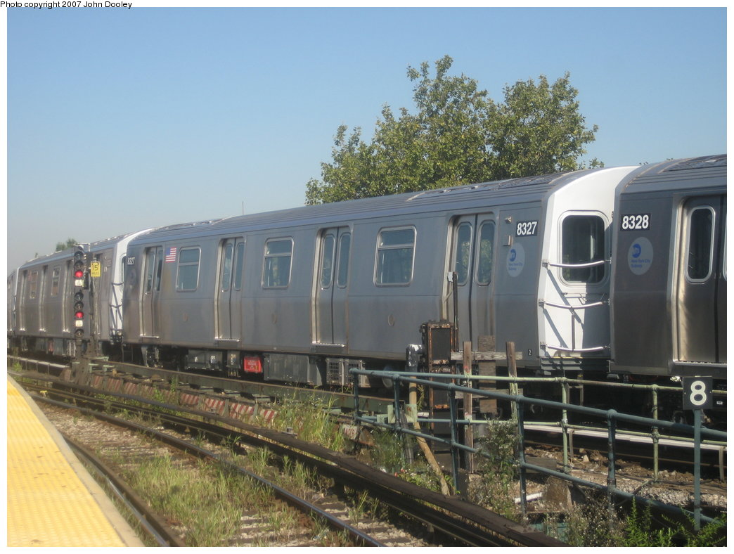 (176k, 1044x788)<br><b>Country:</b> United States<br><b>City:</b> New York<br><b>System:</b> New York City Transit<br><b>Line:</b> BMT Nassau Street/Jamaica Line<br><b>Location:</b> Broadway/East New York (Broadway Junction) <br><b>Route:</b> Z<br><b>Car:</b> R-160A-1 (Alstom, 2005-2008, 4 car sets)  8327 <br><b>Photo by:</b> John Dooley<br><b>Date:</b> 9/20/2007<br><b>Viewed (this week/total):</b> 2 / 1942
