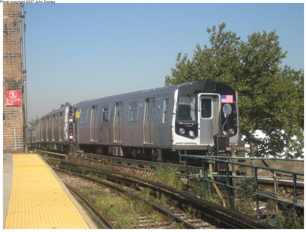 (198k, 1044x788)<br><b>Country:</b> United States<br><b>City:</b> New York<br><b>System:</b> New York City Transit<br><b>Line:</b> BMT Nassau Street/Jamaica Line<br><b>Location:</b> Broadway/East New York (Broadway Junction) <br><b>Route:</b> Z<br><b>Car:</b> R-160A-1 (Alstom, 2005-2008, 4 car sets)  8328 <br><b>Photo by:</b> John Dooley<br><b>Date:</b> 9/20/2007<br><b>Viewed (this week/total):</b> 2 / 1853
