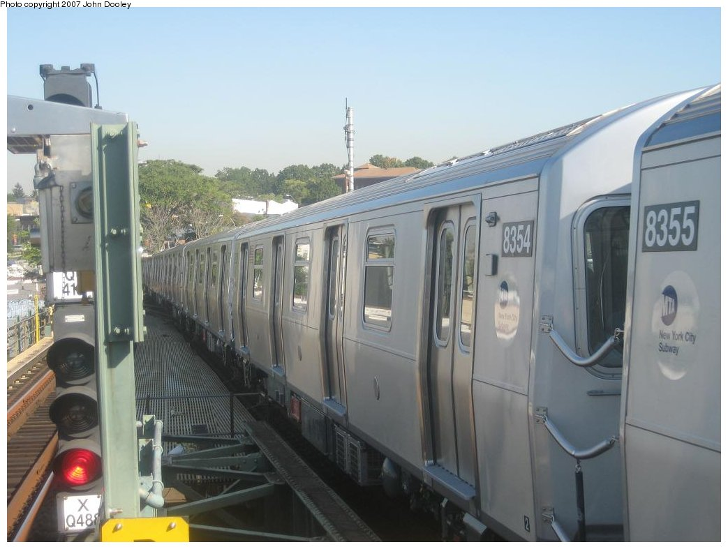 (133k, 1043x787)<br><b>Country:</b> United States<br><b>City:</b> New York<br><b>System:</b> New York City Transit<br><b>Line:</b> BMT Canarsie Line<br><b>Location:</b> Broadway Junction <br><b>Route:</b> L<br><b>Car:</b> R-160A-1 (Alstom, 2005-2008, 4 car sets)  8354 <br><b>Photo by:</b> John Dooley<br><b>Date:</b> 9/20/2007<br><b>Viewed (this week/total):</b> 3 / 1961