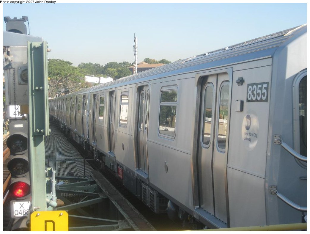 (133k, 1043x787)<br><b>Country:</b> United States<br><b>City:</b> New York<br><b>System:</b> New York City Transit<br><b>Line:</b> BMT Canarsie Line<br><b>Location:</b> Broadway Junction <br><b>Route:</b> L<br><b>Car:</b> R-160A-1 (Alstom, 2005-2008, 4 car sets)  8355 <br><b>Photo by:</b> John Dooley<br><b>Date:</b> 9/20/2007<br><b>Viewed (this week/total):</b> 1 / 2084