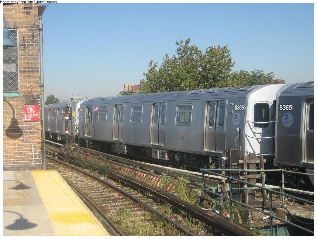 (190k, 1043x787)<br><b>Country:</b> United States<br><b>City:</b> New York<br><b>System:</b> New York City Transit<br><b>Line:</b> BMT Nassau Street/Jamaica Line<br><b>Location:</b> Broadway/East New York (Broadway Junction) <br><b>Route:</b> Z<br><b>Car:</b> R-160A-1 (Alstom, 2005-2008, 4 car sets)  8366 <br><b>Photo by:</b> John Dooley<br><b>Date:</b> 9/20/2007<br><b>Viewed (this week/total):</b> 1 / 1955