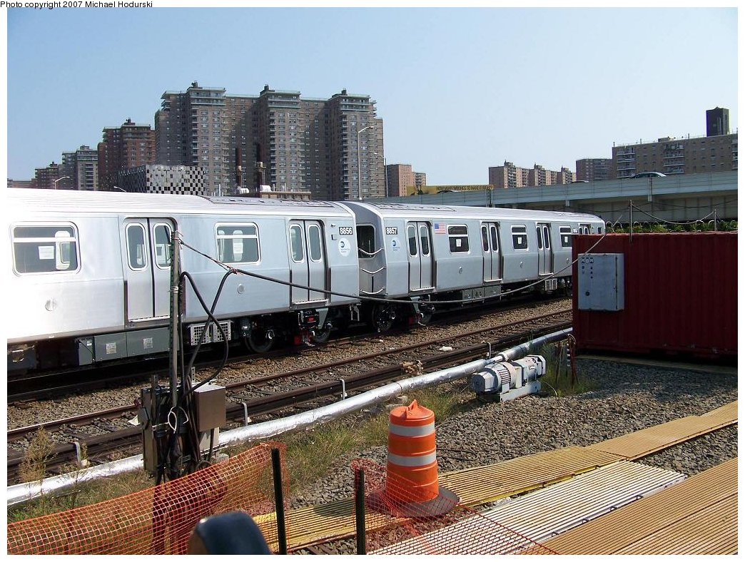 (258k, 1044x788)<br><b>Country:</b> United States<br><b>City:</b> New York<br><b>System:</b> New York City Transit<br><b>Location:</b> Coney Island Yard<br><b>Car:</b> R-160B (Kawasaki, 2005-2008)  8857 <br><b>Photo by:</b> Michael Hodurski<br><b>Date:</b> 9/8/2007<br><b>Viewed (this week/total):</b> 1 / 2044