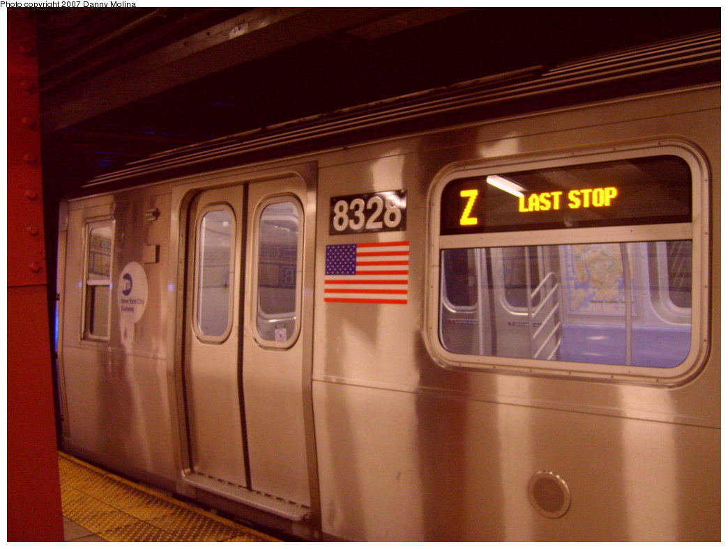 (180k, 1044x788)<br><b>Country:</b> United States<br><b>City:</b> New York<br><b>System:</b> New York City Transit<br><b>Line:</b> BMT Nassau Street/Jamaica Line<br><b>Location:</b> Broad Street <br><b>Route:</b> Z<br><b>Car:</b> R-160A-1 (Alstom, 2005-2008, 4 car sets)  8328 <br><b>Photo by:</b> Danny Molina<br><b>Date:</b> 9/20/2007<br><b>Viewed (this week/total):</b> 3 / 3271