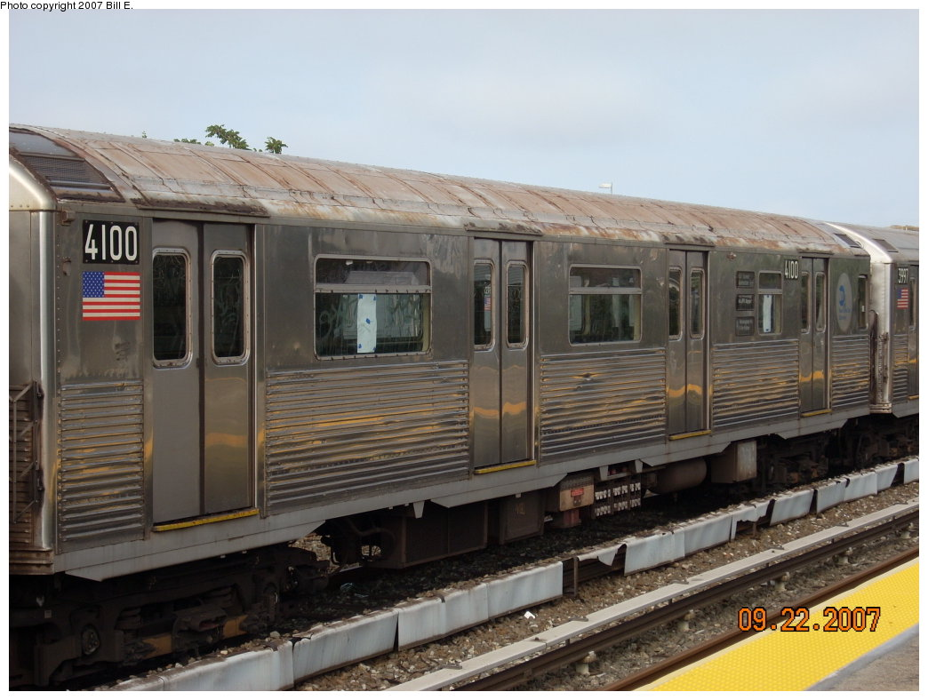 (188k, 1044x788)<br><b>Country:</b> United States<br><b>City:</b> New York<br><b>System:</b> New York City Transit<br><b>Location:</b> Rockaway Park Yard<br><b>Car:</b> R-38 (St. Louis, 1966-1967)  4100 <br><b>Photo by:</b> Bill E.<br><b>Date:</b> 9/22/2007<br><b>Viewed (this week/total):</b> 0 / 1187