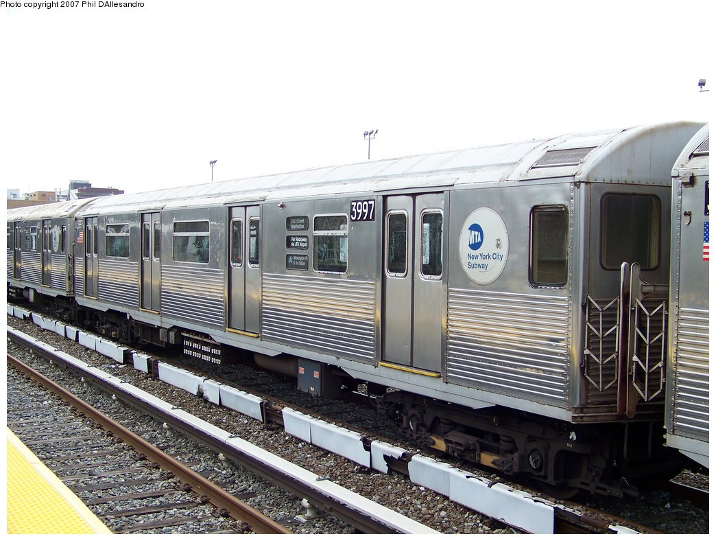(202k, 1044x788)<br><b>Country:</b> United States<br><b>City:</b> New York<br><b>System:</b> New York City Transit<br><b>Location:</b> Rockaway Park Yard<br><b>Car:</b> R-38 (St. Louis, 1966-1967)  3997 <br><b>Photo by:</b> Philip D'Allesandro<br><b>Date:</b> 9/22/2007<br><b>Viewed (this week/total):</b> 0 / 1192