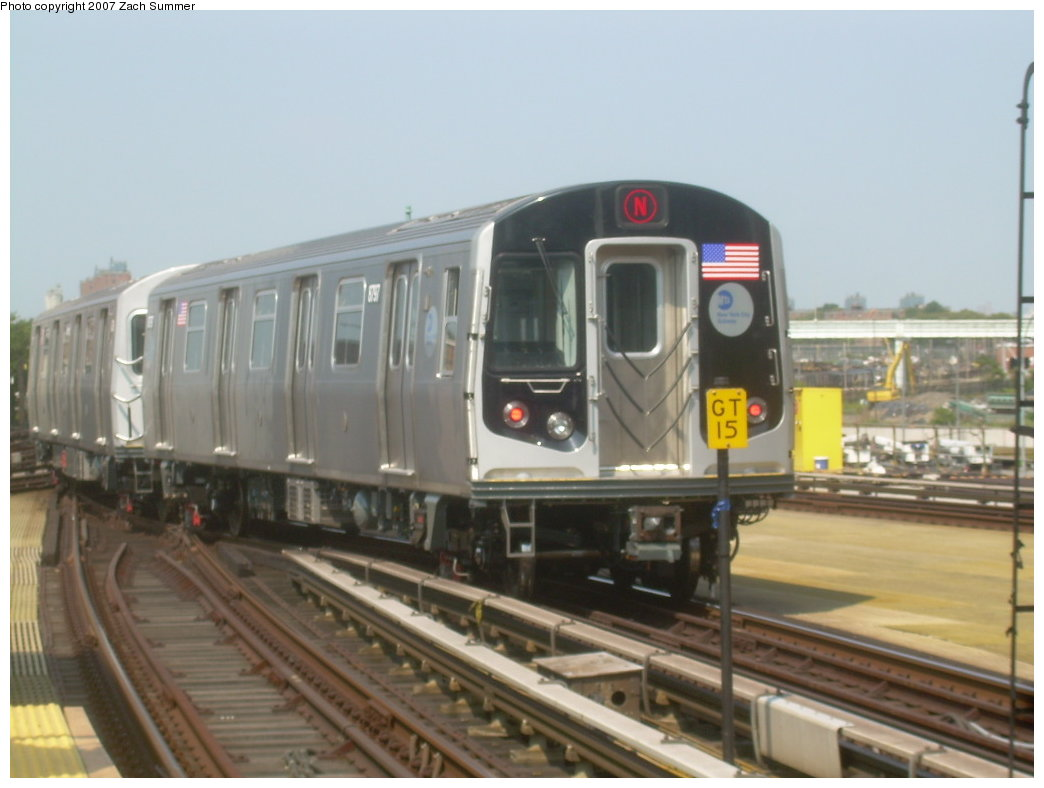 (158k, 1044x788)<br><b>Country:</b> United States<br><b>City:</b> New York<br><b>System:</b> New York City Transit<br><b>Location:</b> Coney Island/Stillwell Avenue<br><b>Route:</b> N<br><b>Car:</b> R-160B (Kawasaki, 2005-2008)  8797 <br><b>Photo by:</b> Zach Summer<br><b>Date:</b> 9/8/2007<br><b>Viewed (this week/total):</b> 0 / 2062