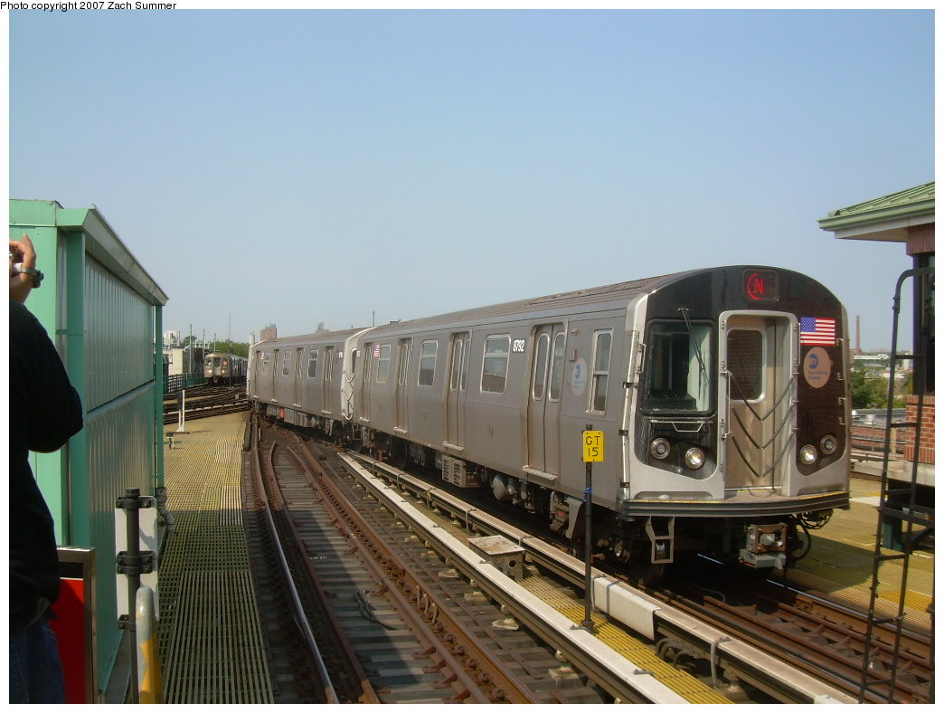 (190k, 1044x788)<br><b>Country:</b> United States<br><b>City:</b> New York<br><b>System:</b> New York City Transit<br><b>Location:</b> Coney Island/Stillwell Avenue<br><b>Route:</b> N<br><b>Car:</b> R-160B (Kawasaki, 2005-2008)  8792 <br><b>Photo by:</b> Zach Summer<br><b>Date:</b> 9/8/2007<br><b>Viewed (this week/total):</b> 1 / 1087