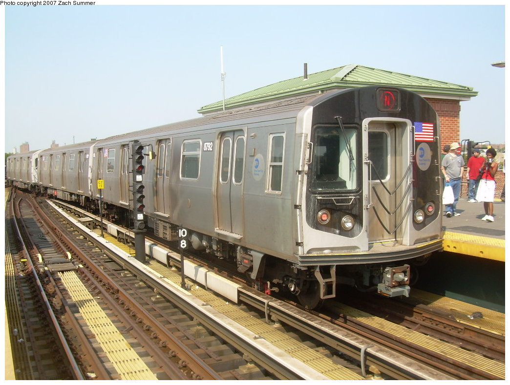 (229k, 1044x788)<br><b>Country:</b> United States<br><b>City:</b> New York<br><b>System:</b> New York City Transit<br><b>Location:</b> Coney Island/Stillwell Avenue<br><b>Route:</b> N<br><b>Car:</b> R-160B (Kawasaki, 2005-2008)  8792 <br><b>Photo by:</b> Zach Summer<br><b>Date:</b> 9/8/2007<br><b>Viewed (this week/total):</b> 1 / 1266
