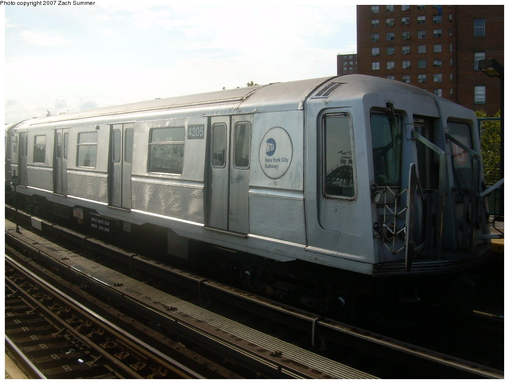 (177k, 1044x788)<br><b>Country:</b> United States<br><b>City:</b> New York<br><b>System:</b> New York City Transit<br><b>Line:</b> BMT Brighton Line<br><b>Location:</b> West 8th Street <br><b>Car:</b> R-40 (St. Louis, 1968)  4205 <br><b>Photo by:</b> Zach Summer<br><b>Date:</b> 9/9/2007<br><b>Notes:</b> Yard move.<br><b>Viewed (this week/total):</b> 4 / 1275