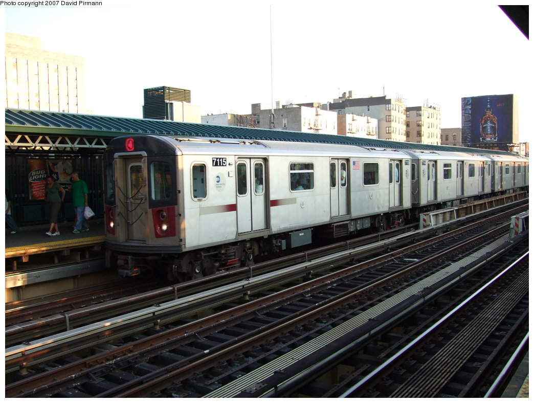 (189k, 1044x788)<br><b>Country:</b> United States<br><b>City:</b> New York<br><b>System:</b> New York City Transit<br><b>Line:</b> IRT Woodlawn Line<br><b>Location:</b> 161st Street/River Avenue (Yankee Stadium) <br><b>Route:</b> 4<br><b>Car:</b> R-142 (Option Order, Bombardier, 2002-2003)  7115 <br><b>Photo by:</b> David Pirmann<br><b>Date:</b> 9/21/2007<br><b>Viewed (this week/total):</b> 2 / 1522