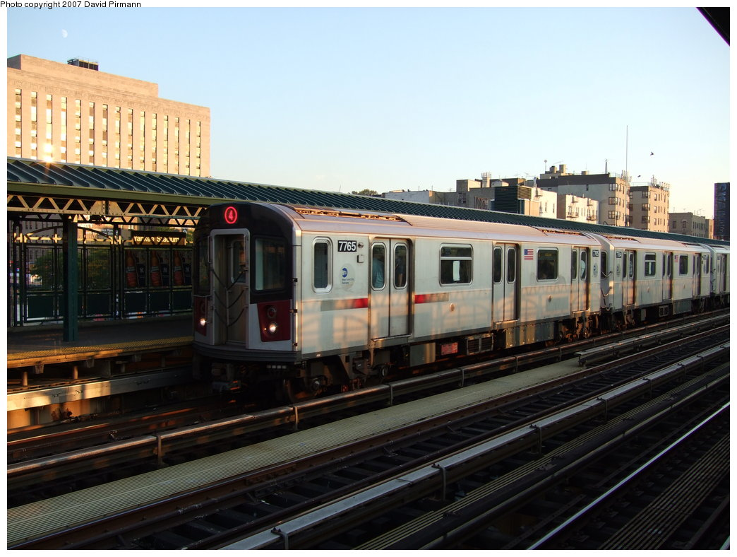 (176k, 1044x788)<br><b>Country:</b> United States<br><b>City:</b> New York<br><b>System:</b> New York City Transit<br><b>Line:</b> IRT Woodlawn Line<br><b>Location:</b> 161st Street/River Avenue (Yankee Stadium) <br><b>Route:</b> 4<br><b>Car:</b> R-142A (Supplemental Order, Kawasaki, 2003-2004)  7765 <br><b>Photo by:</b> David Pirmann<br><b>Date:</b> 9/21/2007<br><b>Viewed (this week/total):</b> 1 / 1847