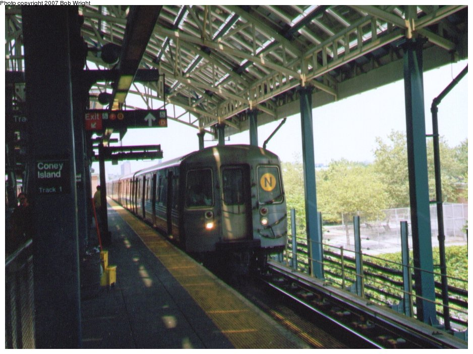 (135k, 938x702)<br><b>Country:</b> United States<br><b>City:</b> New York<br><b>System:</b> New York City Transit<br><b>Location:</b> Coney Island/Stillwell Avenue<br><b>Route:</b> N<br><b>Car:</b> R-68/R-68A Series (Number Unknown)  <br><b>Photo by:</b> Bob Wright<br><b>Date:</b> 8/20/2006<br><b>Viewed (this week/total):</b> 0 / 1225