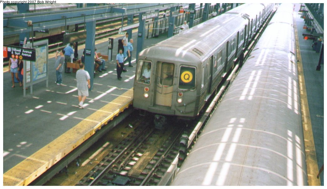 (124k, 1044x604)<br><b>Country:</b> United States<br><b>City:</b> New York<br><b>System:</b> New York City Transit<br><b>Location:</b> Coney Island/Stillwell Avenue<br><b>Route:</b> Q<br><b>Car:</b> R-68/R-68A Series (Number Unknown)  <br><b>Photo by:</b> Bob Wright<br><b>Date:</b> 8/20/2006<br><b>Viewed (this week/total):</b> 6 / 1108