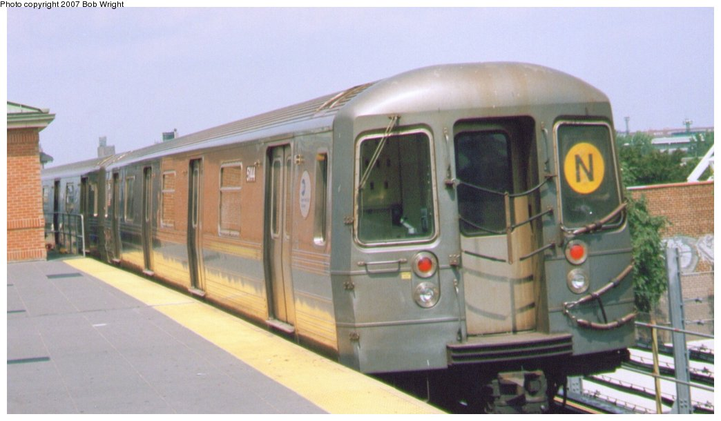 (97k, 1044x610)<br><b>Country:</b> United States<br><b>City:</b> New York<br><b>System:</b> New York City Transit<br><b>Location:</b> Coney Island/Stillwell Avenue<br><b>Route:</b> N<br><b>Car:</b> R-68A (Kawasaki, 1988-1989)  5144 <br><b>Photo by:</b> Bob Wright<br><b>Date:</b> 8/20/2006<br><b>Viewed (this week/total):</b> 1 / 995