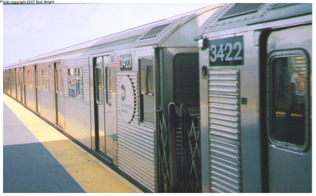 (112k, 1044x649)<br><b>Country:</b> United States<br><b>City:</b> New York<br><b>System:</b> New York City Transit<br><b>Location:</b> Coney Island/Stillwell Avenue<br><b>Route:</b> N<br><b>Car:</b> R-32 (Budd, 1964)  3423 <br><b>Photo by:</b> Bob Wright<br><b>Date:</b> 8/20/2006<br><b>Viewed (this week/total):</b> 0 / 960