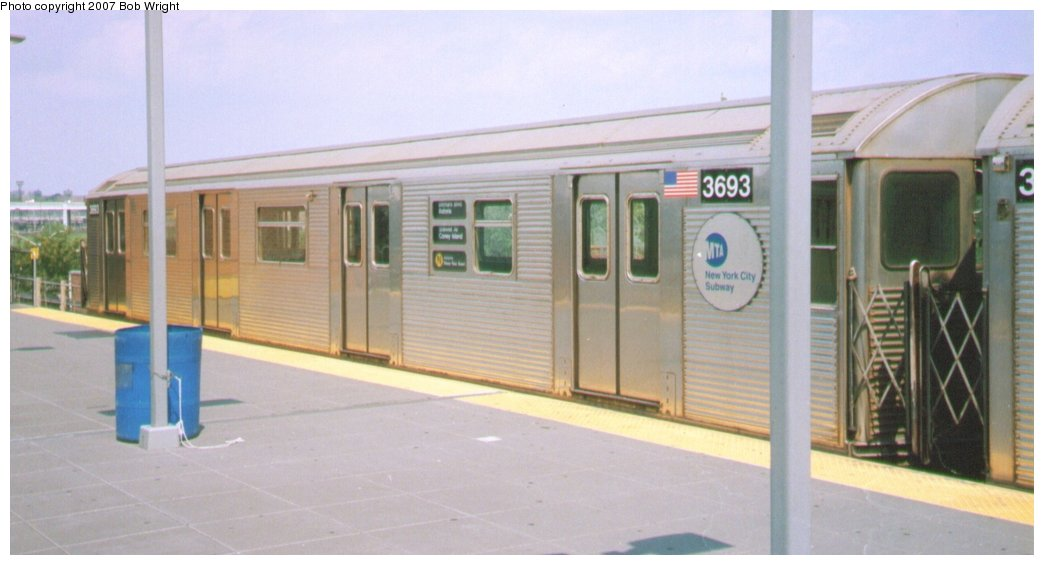 (87k, 1044x565)<br><b>Country:</b> United States<br><b>City:</b> New York<br><b>System:</b> New York City Transit<br><b>Location:</b> Coney Island/Stillwell Avenue<br><b>Route:</b> N<br><b>Car:</b> R-32 (Budd, 1964)  3693 <br><b>Photo by:</b> Bob Wright<br><b>Date:</b> 8/20/2006<br><b>Viewed (this week/total):</b> 3 / 1190