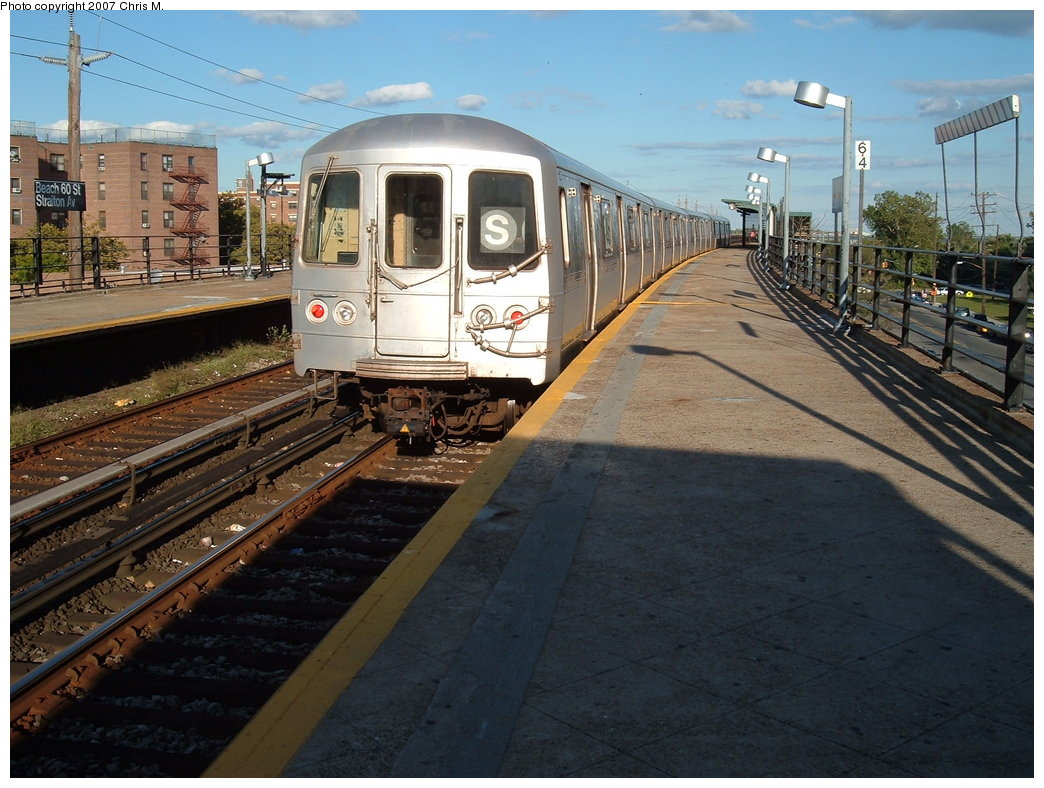 (197k, 1044x788)<br><b>Country:</b> United States<br><b>City:</b> New York<br><b>System:</b> New York City Transit<br><b>Line:</b> IND Rockaway<br><b>Location:</b> Beach 60th Street/Straiton <br><b>Route:</b> S<br><b>Car:</b> R-44 (St. Louis, 1971-73) 5338 <br><b>Photo by:</b> Chris M.<br><b>Date:</b> 9/15/2007<br><b>Viewed (this week/total):</b> 0 / 916
