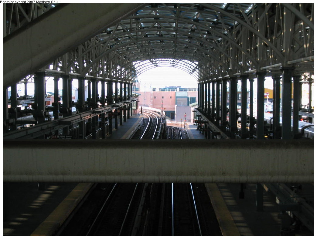 (155k, 1044x788)<br><b>Country:</b> United States<br><b>City:</b> New York<br><b>System:</b> New York City Transit<br><b>Location:</b> Coney Island/Stillwell Avenue<br><b>Photo by:</b> Matthew Shull<br><b>Date:</b> 8/27/2007<br><b>Notes:</b> From Overpass - Viewing Ramp up to Brighton line & Ramp down to Culver line<br><b>Viewed (this week/total):</b> 16 / 991