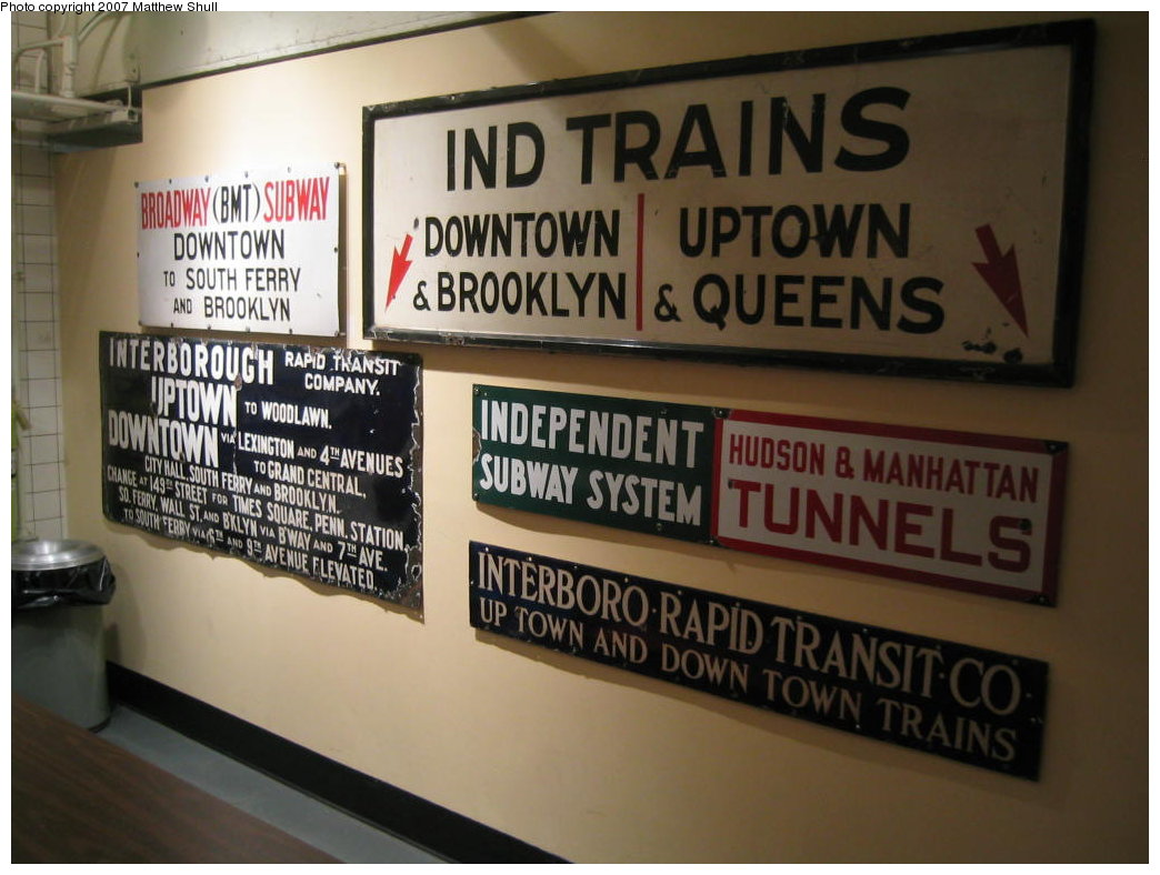 (152k, 1044x788)<br><b>Country:</b> United States<br><b>City:</b> New York<br><b>System:</b> New York City Transit<br><b>Location:</b> New York Transit Museum<br><b>Photo by:</b> Matthew Shull<br><b>Date:</b> 8/31/2007<br><b>Notes:</b> Signage Collection in Cafeteria<br><b>Viewed (this week/total):</b> 1 / 1182