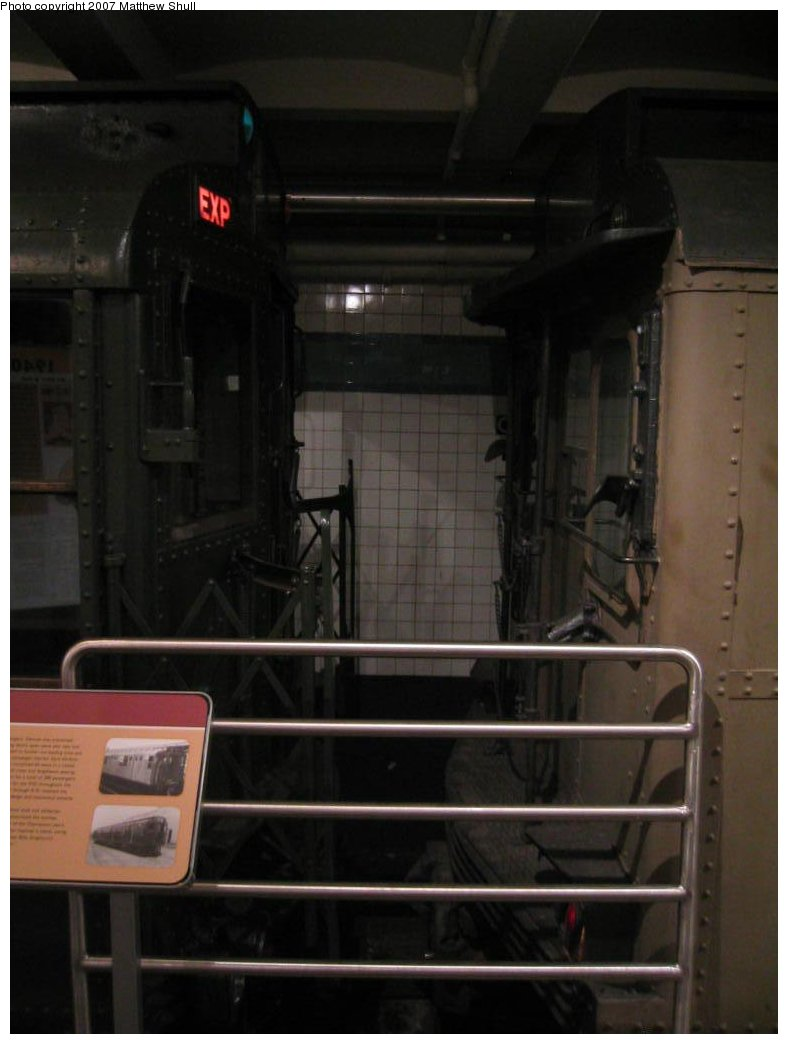(103k, 788x1044)<br><b>Country:</b> United States<br><b>City:</b> New York<br><b>System:</b> New York City Transit<br><b>Location:</b> New York Transit Museum<br><b>Photo by:</b> Matthew Shull<br><b>Date:</b> 8/31/2007<br><b>Notes:</b> Strange Bedfellows - R1 100 on the left, BMT Triplex 6095 C on right<br><b>Viewed (this week/total):</b> 0 / 2442