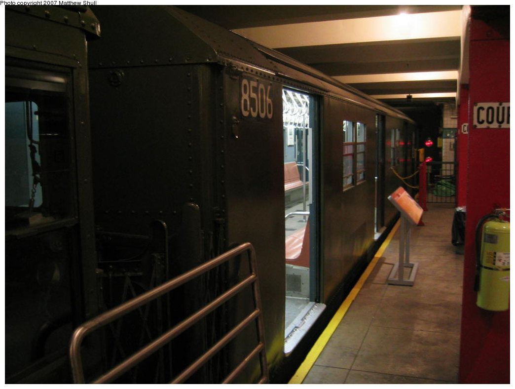 (120k, 1044x788)<br><b>Country:</b> United States<br><b>City:</b> New York<br><b>System:</b> New York City Transit<br><b>Location:</b> New York Transit Museum<br><b>Car:</b> R-30 (St. Louis, 1961) 8506 <br><b>Photo by:</b> Matthew Shull<br><b>Date:</b> 8/31/2007<br><b>Viewed (this week/total):</b> 9 / 1958