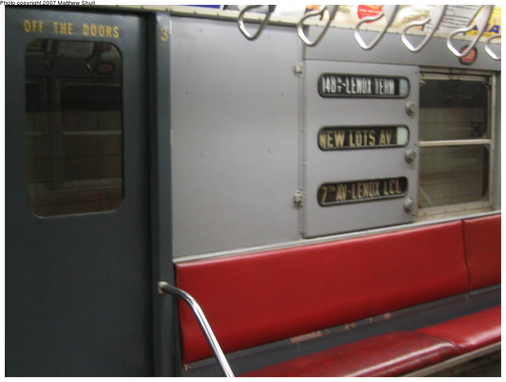 (102k, 1044x788)<br><b>Country:</b> United States<br><b>City:</b> New York<br><b>System:</b> New York City Transit<br><b>Location:</b> New York Transit Museum<br><b>Car:</b> R-17 (St. Louis, 1955-56) 6609 <br><b>Photo by:</b> Matthew Shull<br><b>Date:</b> 8/31/2007<br><b>Notes:</b> Interior Rollsigns - Properly set for 3 route<br><b>Viewed (this week/total):</b> 0 / 1469
